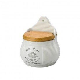saleiro de porcelana com tampa de madeira sweet home 8059 a casa cafe e mel