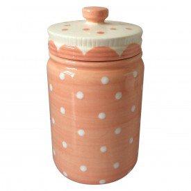 potiche ornamental porcelana pois rosa 40482 urban casa cafe e mel