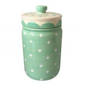 potiche ornamental porcelana pois verde 40485 urban casa cafe e mel