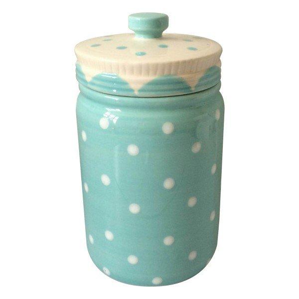 potiche ornamental porcelana pois azul 40483 urban casa cafe e mel
