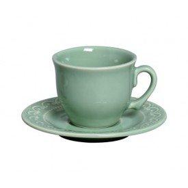 xicara de cha com pires ceramica princess scalla verde casa cafe e mel