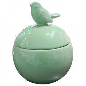 potiche ceramica redondo passaro verde p 40063 urban casa cafe e mel