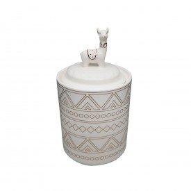 potiche decorativo ceramica lhama branco 41029 urban casa cafe e mel