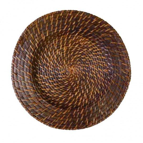 sousplat rattan e bambu redondo escuro gzt casa cafe e mel