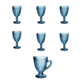 conjunto tacas jarra empire azul lyor casa cafe e mel