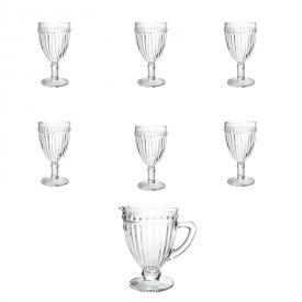 conjunto tacas jarra empire transparente lyor casa cafe e mel