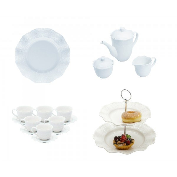 kit conju cha e cafe porta doce xic cha prato sobr princess branco lyor casa cafe e mel