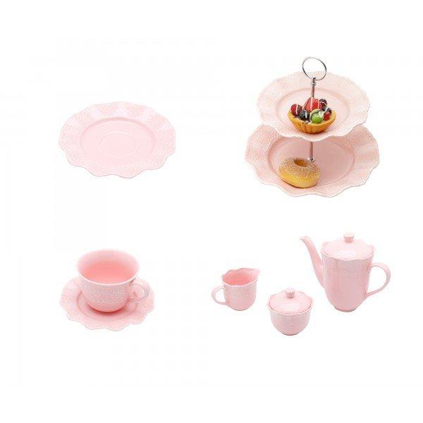 kit conju cha e cafe porta doce xic cha prato sobr princess rosa lyor casa cafe e mel