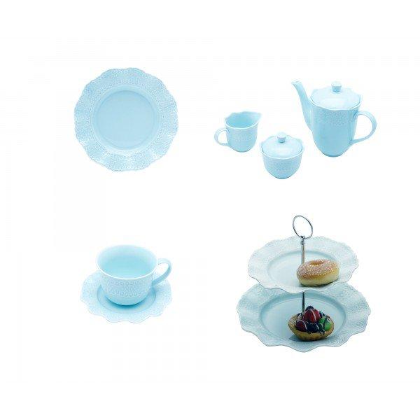 kit conju cha e cafeporta docexic chaprato sobr princess azul lyor casa cafe e mel