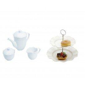 kit porta doce conju cha e cafe princess branco lyor casa cafe e mel
