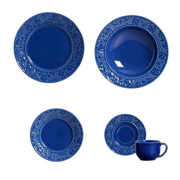 aparelho de jantar porto azul navy 30 pcs porto brasil casa cafe e mel