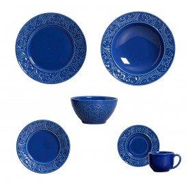 aparelho de jantar porto azul navy 36 pcs porto brasil casa cafe e mel