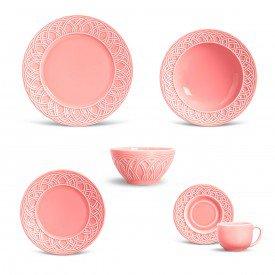 aparelho de jantar cestino rosa 36pcs porto brasil casa cafe e mel