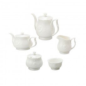 conjunto cha e cafe super white queen 5pcs lyor casa cafe e mel