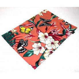 jogo americano de tecido aquamarine cortbras salmao floral 506 casa cafe e mel amb 3