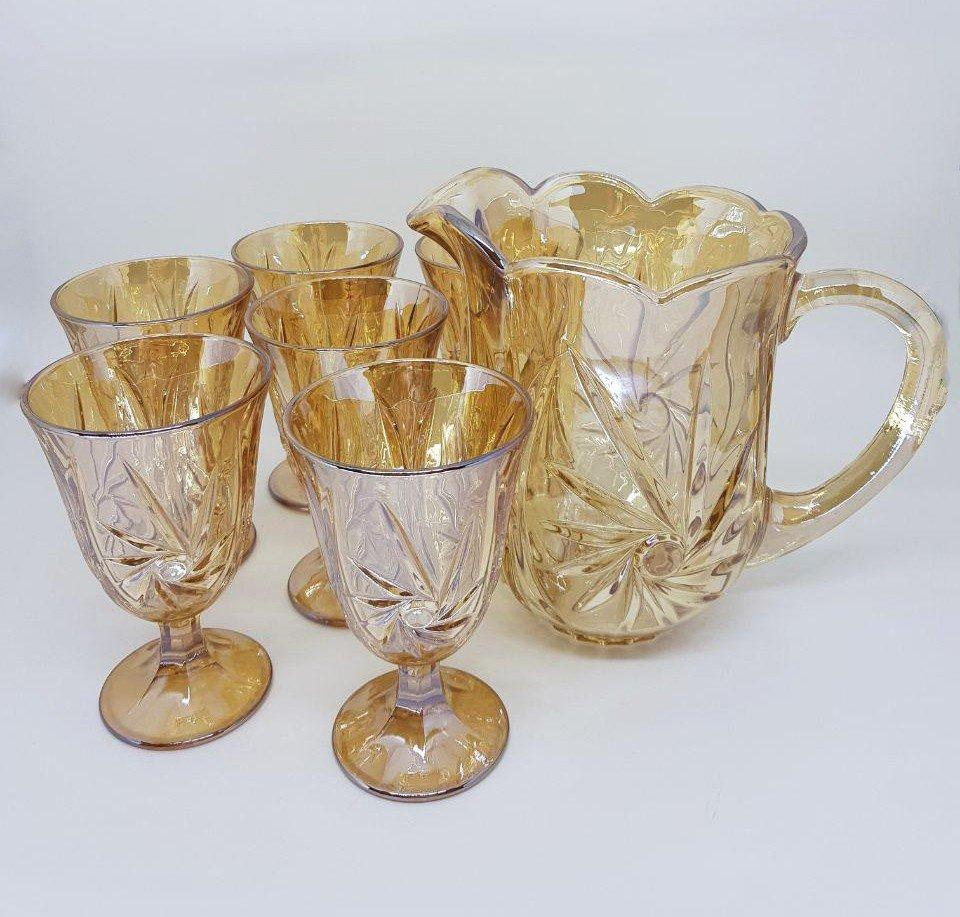 conjunto 7 pecas jarra e 6 tacas de cristal prima ambar 7740 lyor casa cafe e mel 2