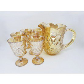 conjunto 7 pecas jarra e 6 tacas de cristal lile ambar 7741 lyor casa cafe e mel