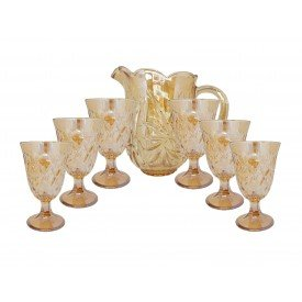 conjunto 7 pecas jarra e 6 tacas de cristal prima ambar 7740 lyor casa cafe e mel 5