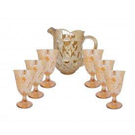 conjunto 7 pecas jarra e 6 tacas de cristal lile ambar 7741 lyor a casa cafe e mel 2