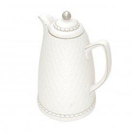 garrafa termica porcelana renda branco e prata 35578 wolff casa cafe e mel 1