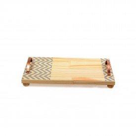 bandeja em madeira e alca de ferro media zig zag cinza18845c decor glass casa cafe e mel