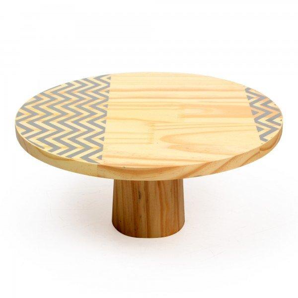 prato para bolo em madeira grande zig zag cinza 18843c decor glass casa cafe e mel