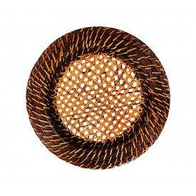 sousplat redondo rattan com tela no fundo marrom dm0021 gzt casa cafe e mel