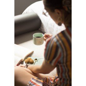 caneca porcelana com bandeja e colher verde dec02296 home design casa cafe e mel