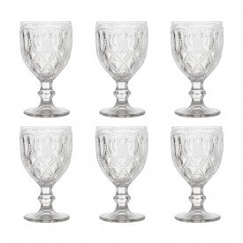 taca de vidro diamond verde 6 pecas 290ml 6991 bon gourmet casa cafe e mel 4