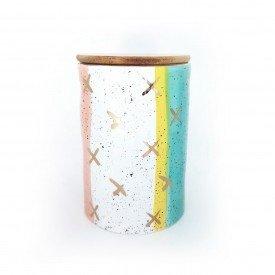 pote de porcelana com vedacao e tampa de madeira grande dec02322 casa cafe e mel 1