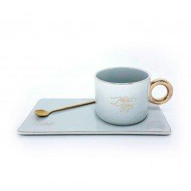 caneca porcelana com bandeja e colher cinza claro dec02403 casa cafe e mel 3