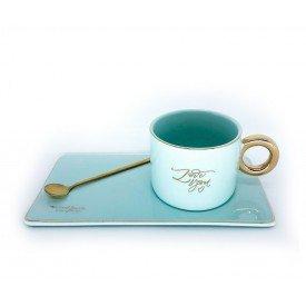 caneca porcelana com bandeja e colher verde dec02296 casa cafe e mel 2