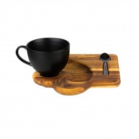 xicara de cafe com bandeja e colher 13170 bon gourmet casa cafe e mel 1