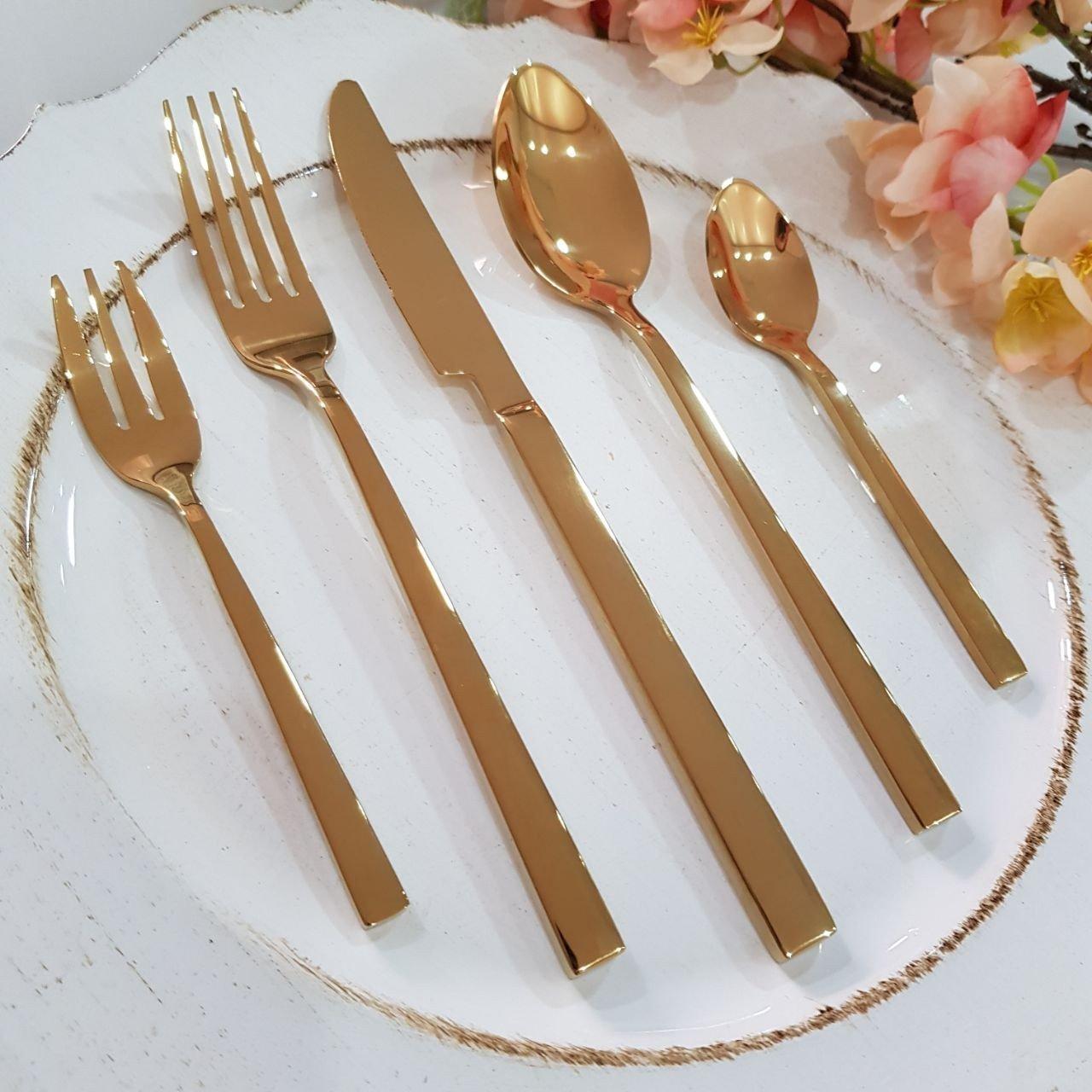 conjunto de talheres super luxo dourado mp3 casa cafe e mel