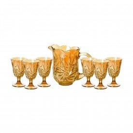 conjunto 7 pecas jarra e 6 tacas de cristal lile ambar 7741 lyor a casa cafe e mel