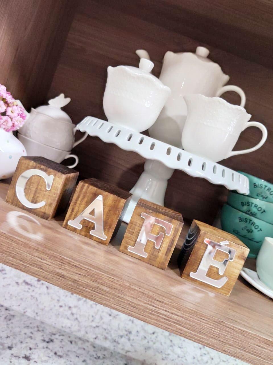 cubos de madeira decorativo cafe espelhado casa cafe e mel