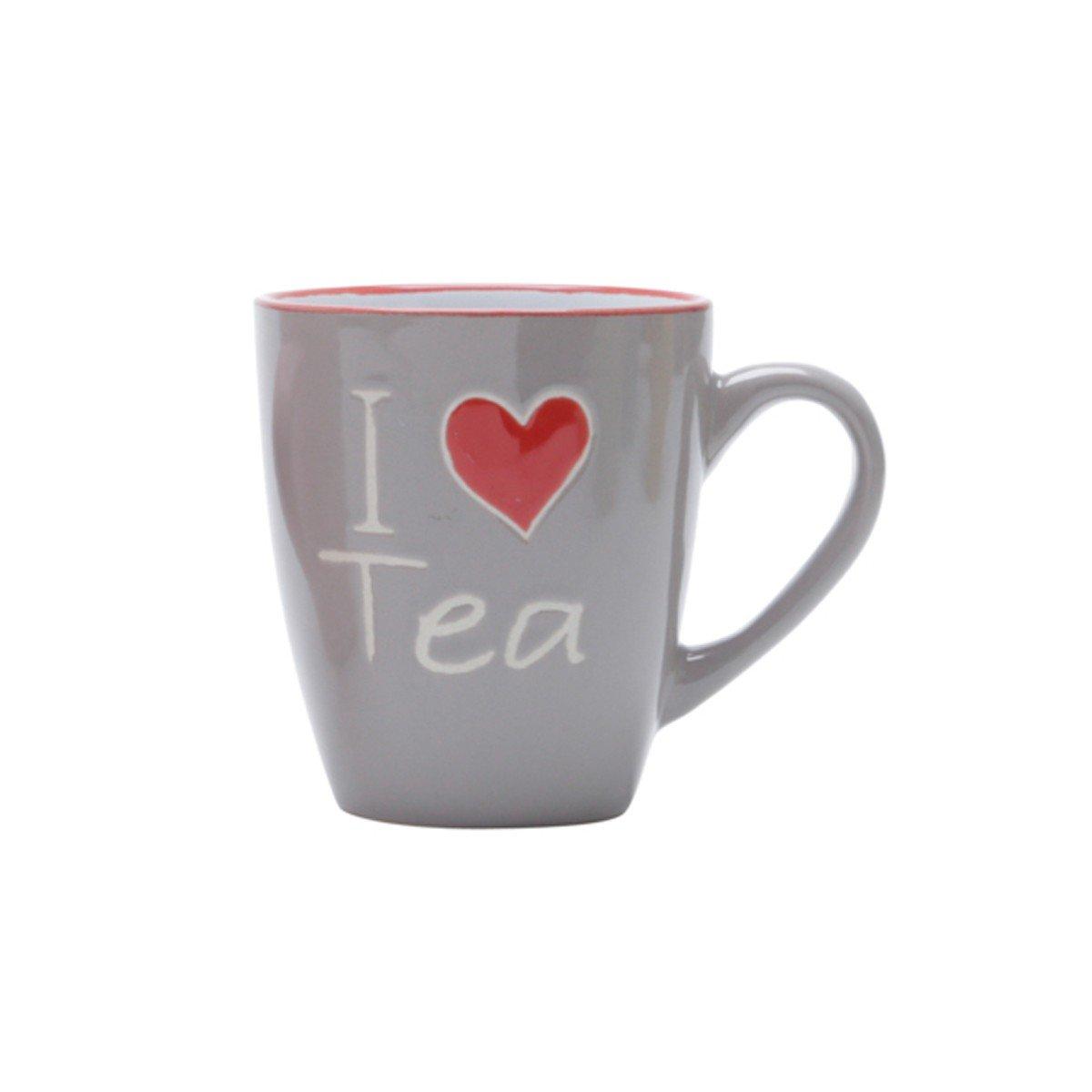 caneca porcelana i love tea 200ml bon gourmet cinza 26103c bon goumert casa cafe e mel
