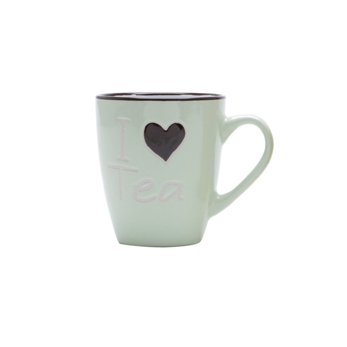 caneca porcelana i love tea 200ml bon gourmet cinza 26103v bon goumert casa cafe e mel