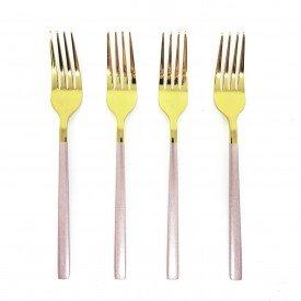 jogo de garfo para sobremesa douradas com cabo rose 4 pecas dec02397 we make casa cafe e mel 1