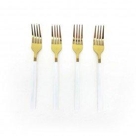 jogo de garfo para sobremesa douradas com cabo branco 4 pecas dec02396 we make casa cafe e mel 1