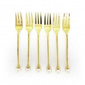 jogo de garfo para sobremesa dourado com perola 6 pecas dec02592 we make casa cafe e mel 1