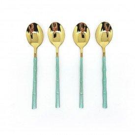jogo de colher para sobremesa dourada com cabo verde 4 pecas dec02573 we make casa cafe e mel 1