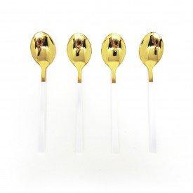 jogo de colher para sobremesa douradas com cabo branco 4 pecas dec02393 we make casa cafe e mel 1