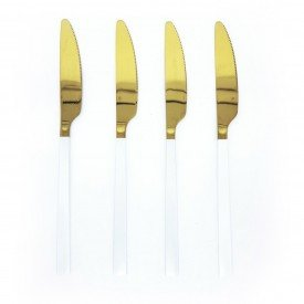 jogo de facas douradas com cabo branco 4 pecas dec02384 we make casa cafe e mel 1