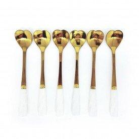 jogo de colher para cha coracao com cabo branco 6 pecas dec02613 we make casa cafe e mel 1
