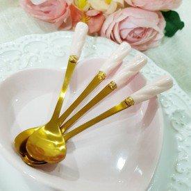 jogo de colher para cha coracao cabo rosa 6 pecas casa cafe e mel 2