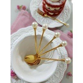 jogo de garfo para sobremesa dourado com perola 6 pecas casa cafe e mel