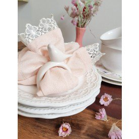 argola para guardanapo individual passaro ceramica branca casa cafe e mel 1