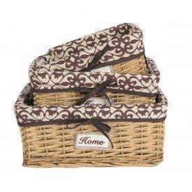 cesto organizador forrado com tecido arabescos bordo dc0007 gzt casa cafe e mel