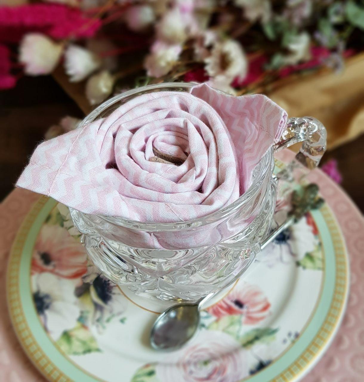 guardanapo de tecido tricoline 6 pecas zig zag rosa amora casa casa cafe e mel 1